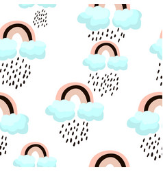 Seamless pattern with rainbow and clouds childish vector