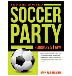 Soccer party flyer invitation vector