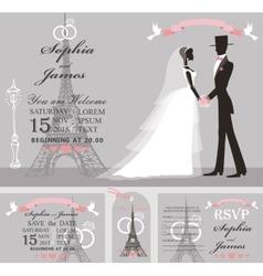 Wedding invitation setRetro BridegroomEiffel vector image vector image