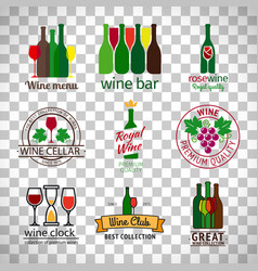 wine shop logos set vector image vector image