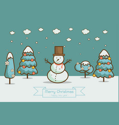 Winter landscape with christmas trees snowmen vector