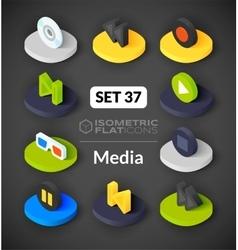 Isometric flat icons set 37 vector image