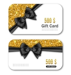 Gift card template with golden dust texture and vector