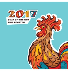 Chinese new year card with colorful rooster vector image