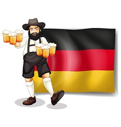A man holding a beer in front of a flag vector