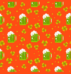 Irish st patrick green ale orange seamless vector