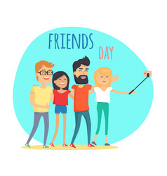 Friends day two boys and two girls makes selfie vector