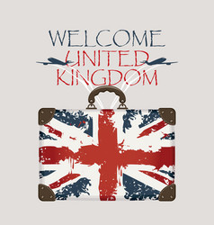 Suitcase with the flag of uk and planes vector