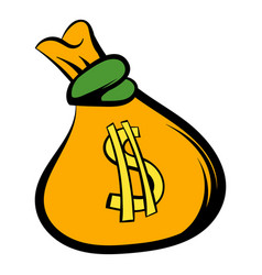 Money bag with us dollar sign icon icon cartoon vector
