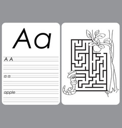 Alphabet a-z - puzzle worksheet - coloring book vector