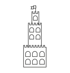 Line castle built on an kingdom to protect them vector