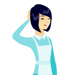 Young asian cleaner scratching her head vector