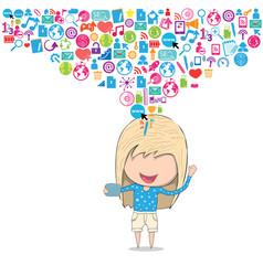 Teenage girl happy template design thinking idea vector