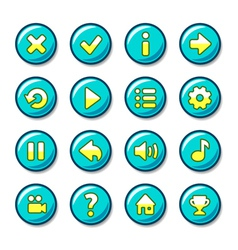 Blue and yellow round buttons vector
