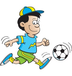 Cartoon boy playing soccer vector