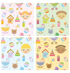 Seamless fun baby patt vector