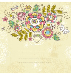 Background of hand draw flowers vector