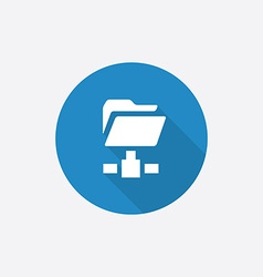 Net folder flat blue simple icon with long shadow vector