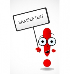 Exclamation mark holding board vector