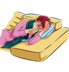 Alone woman sick cold on sofa vector