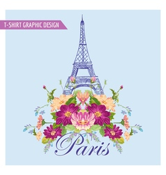 Floral paris graphic design - for t-shirt fashion vector