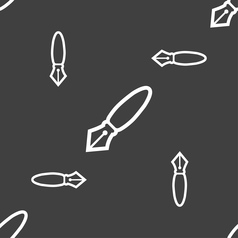 Pen icon sign seamless pattern on a gray vector