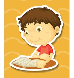 Sticker of a boy reading book vector