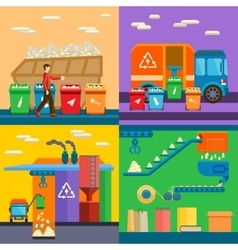 Waste sorting garbage recycling environment flat vector