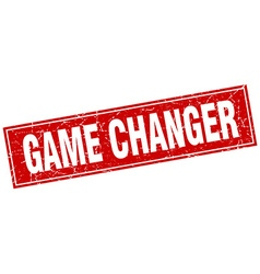 Game changer red square grunge stamp on white vector