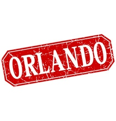 Orlando red square grunge retro style sign vector