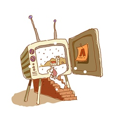 A television is opend vector image