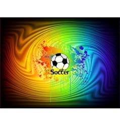 Abstract ink background with soccer ball vector image