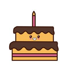 big birthday cake cute kawaii cartoon vector image