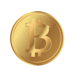 Bitcoin blockchain cryptocurrency gold coin icon vector