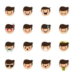 Boy emoticons collection cute kid emoji vector