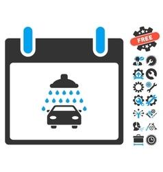 Car shower calendar day icon with bonus vector
