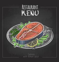 Chalk drawing menu design fish menu salmon vector