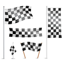 Checkered flags pictograms collection vector