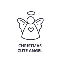 christmas cute angel line icon outline sign vector image