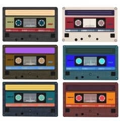 Collection of retro audio cassettes Set of vector image
