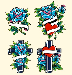 cross and rose icon set vector image vector image