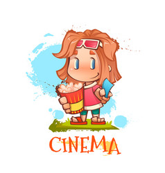 Cute girl with popcorn and ticket vector