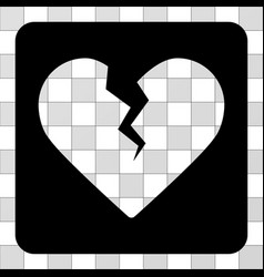 Divorce heart rounded square vector