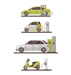 Electrical cars and scooters at charging station vector