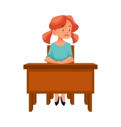 Ginger school girl sitting at the desk listening vector