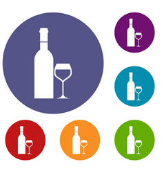 glass and bottle of wine icons set vector image vector image