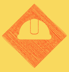 Hardhat sign red scribble icon obtained vector