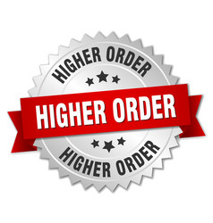 Higher order round isolated silver badge vector