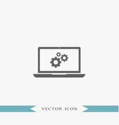 laptop icon simple gear vector image