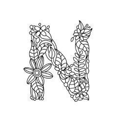 Letter N coloring book for adults vector image vector image